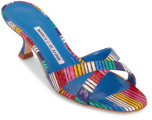 Manolo Blahnik Callamu Rainbow Stripe Snakeskin Slide, 50mm