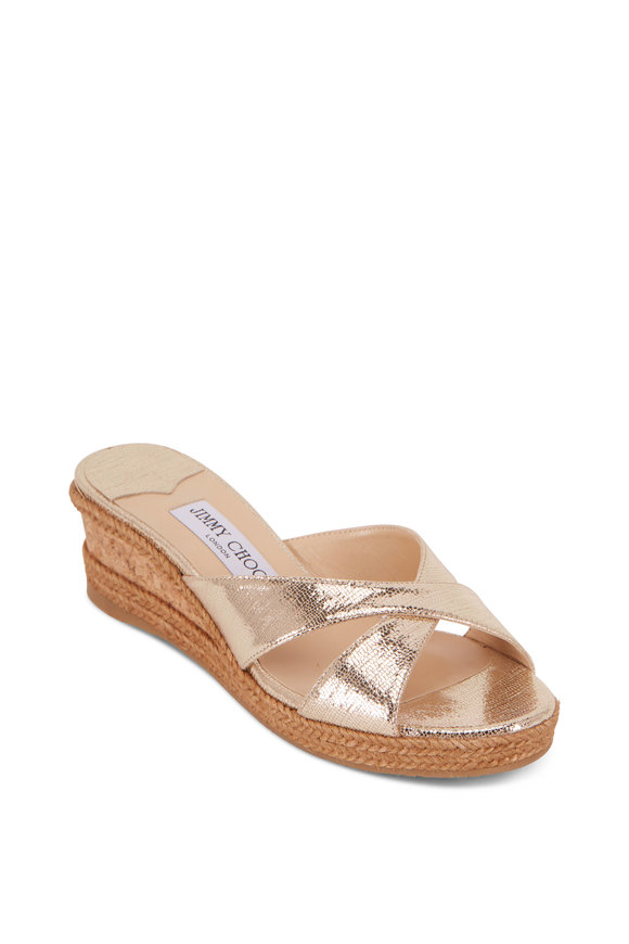 Jimmy Choo Almer Light Gold Lizard Print Leather Wedge, 50mm