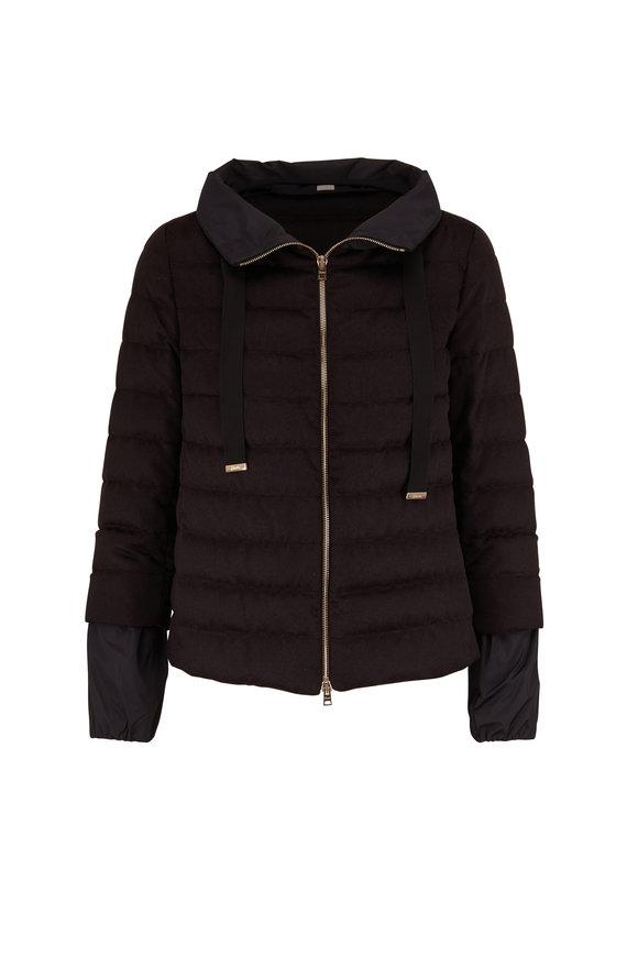 Herno Black Cashmere & Silk Puffer Jacket