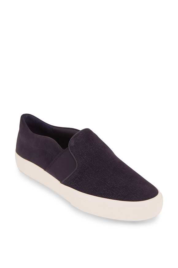 Vince Fenton Coastal Blue Suede Slip-On Sneaker