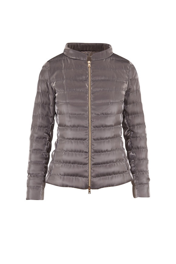 Herno Silver Organza Fitted Down Jacket