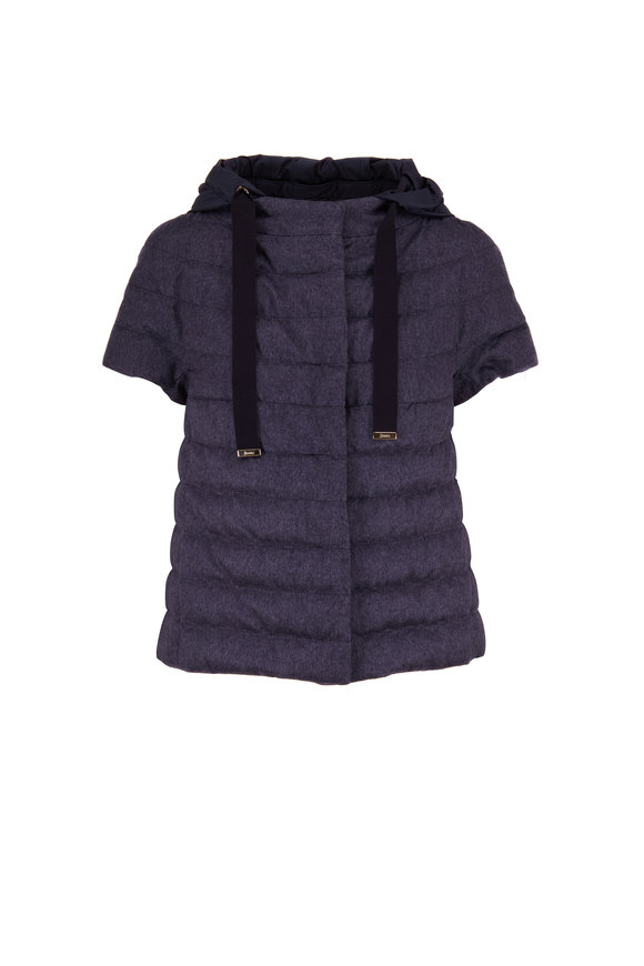 Herno Navy Melange Silk & Cashmere Puffer Jacket