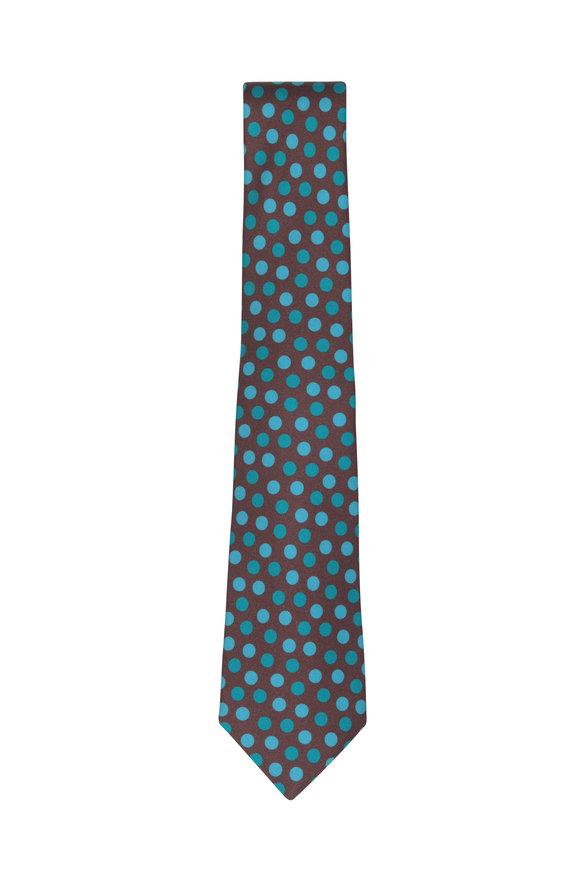 Kiton Brown & Teal Silk Dot Necktie