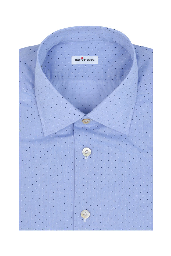 Kiton Blue Chambray Dot Dress Shirt