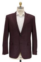 Ermenegildo Zegna - Burgundy & Wine Tonal Plaid Wool & Silk Sportcoat