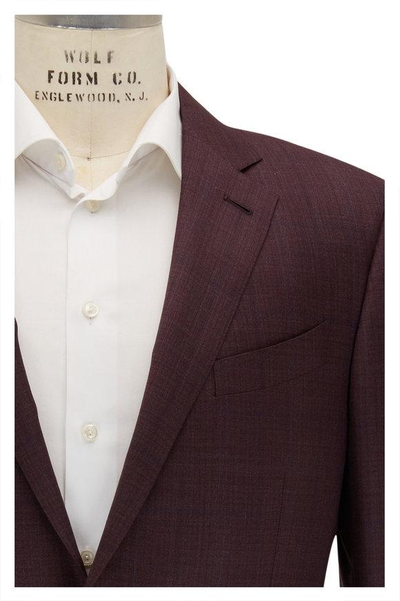 Ermenegildo Zegna Burgundy & Wine Tonal Plaid Wool & Silk Sportcoat