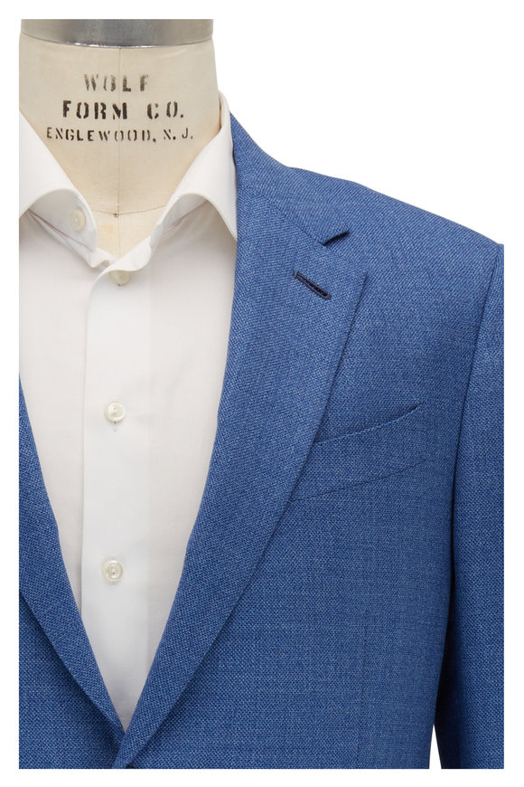 Ermenegildo Zegna Light Blue Textured Wool Sportcoat