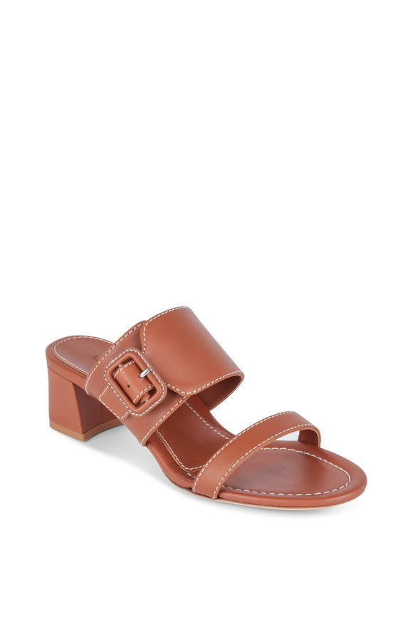 Marion Parke Bree Camel Leather Two-Band Sandal, 60mm
