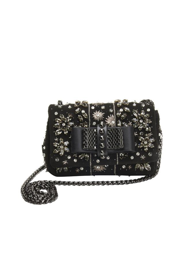 Sweet Charity Black Leather Bow Crossbody Bag