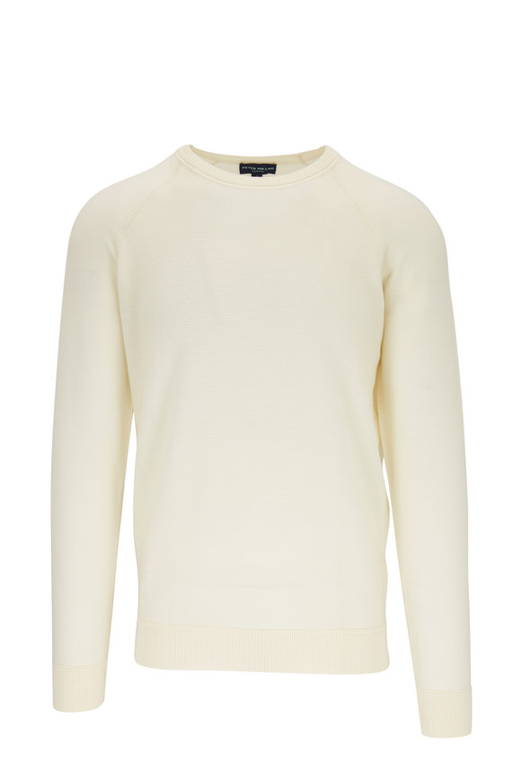 Peter Millar Cream Stretch Wool Raglan Sleeve Pullover