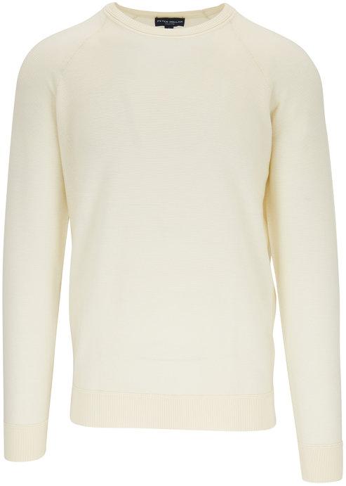 Peter Millar Cream Stretch Wool Raglan Sleeve Pullover