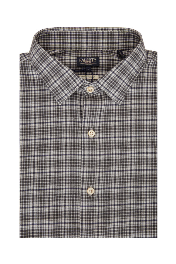 Faherty Brand Charcoal Plaid Sueded Twill Cotton Sport Shirt