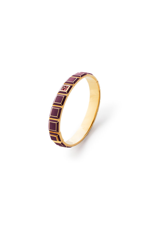 James Banks Rose Gold Candy Carousel Burgundy Bangle