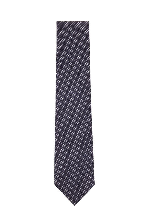 Ermenegildo Zegna Navy, Black & White Woven Silk Necktie