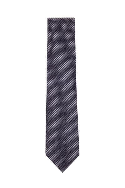 Ermenegildo Zegna - Navy, Black & White Woven Silk Necktie