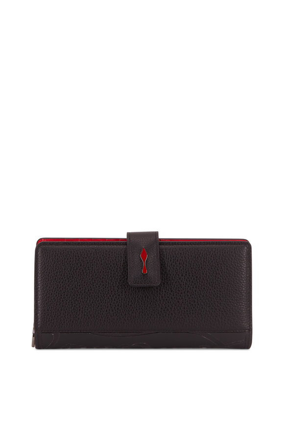 Christian Louboutin Paloma Black Grained Leather Flap Wallet