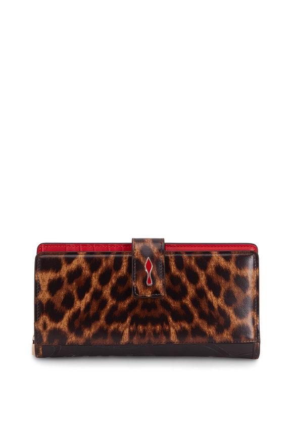 Christian Louboutin Paloma Black & Leopard Print Leather Flap Wallet
