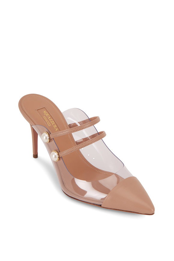 Aquazzura Oz New Nude Nappa & PVC Mule, 85mm