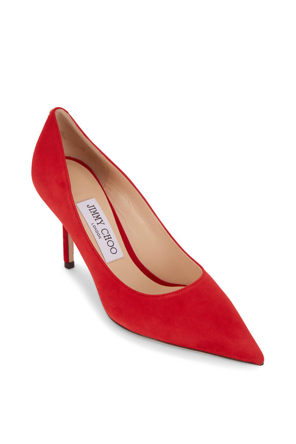 Jimmy Choo Love Red Suede Pointed Pump, 85mm