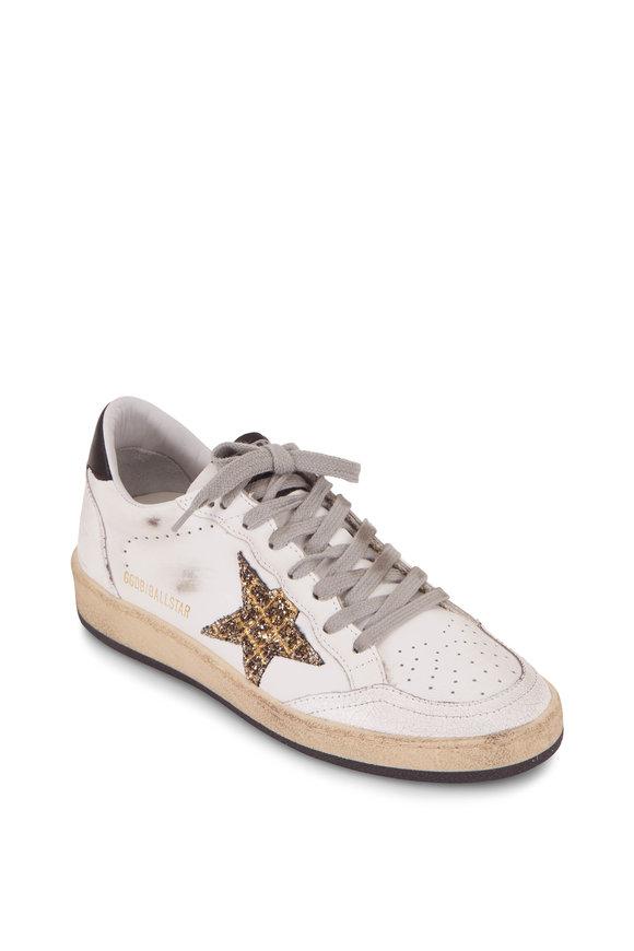 Golden Goose Ball Star White Leather Coco Glitter Star Sneaker