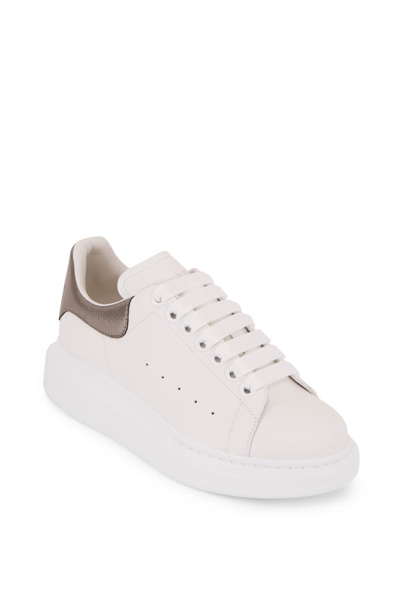 Alexander McQueen  White & Gunmetal Leather Exaggerated Sole Sneaker