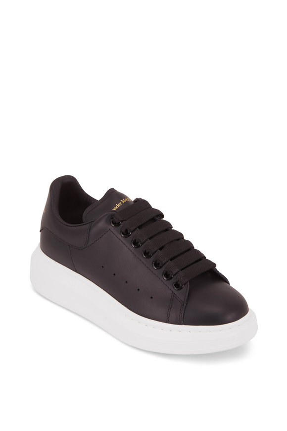Alexander McQueen Black Leather Exaggerated Sole Sneaker