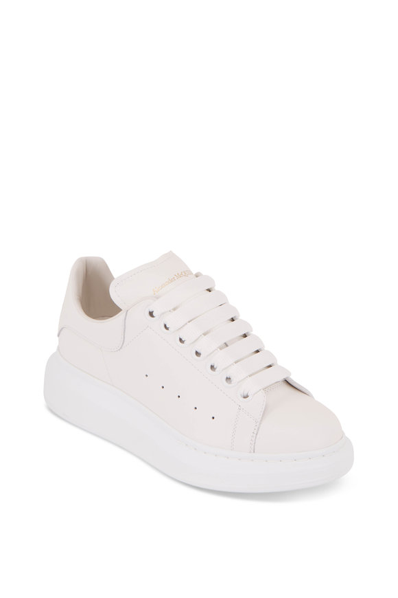 Alexander McQueen White Leather Exaggerated Sole Sneaker
