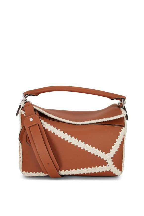 Loewe Puzzle Tan Leather & Crochet Trim Top Handle Bag