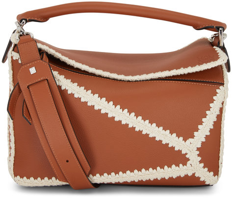 Loewe Puzzle Tan Leather & Crochet Trim Top Handle Bag