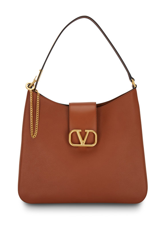 Valentino Garavani VSling Camel Grained Leather Large Hobo Bag