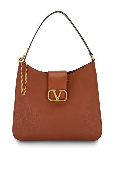 Valentino Garavani - VSling Camel Grained Leather Large Hobo Bag