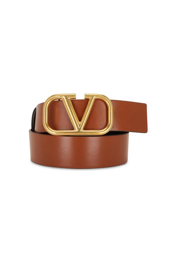Valentino Garavani VLogo Black & Brown Leather Logo Reversible Belt