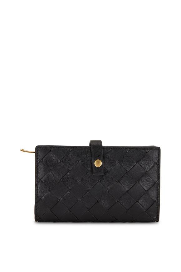 Bottega Veneta Black Intreciatto Fold-Over Small Wallet