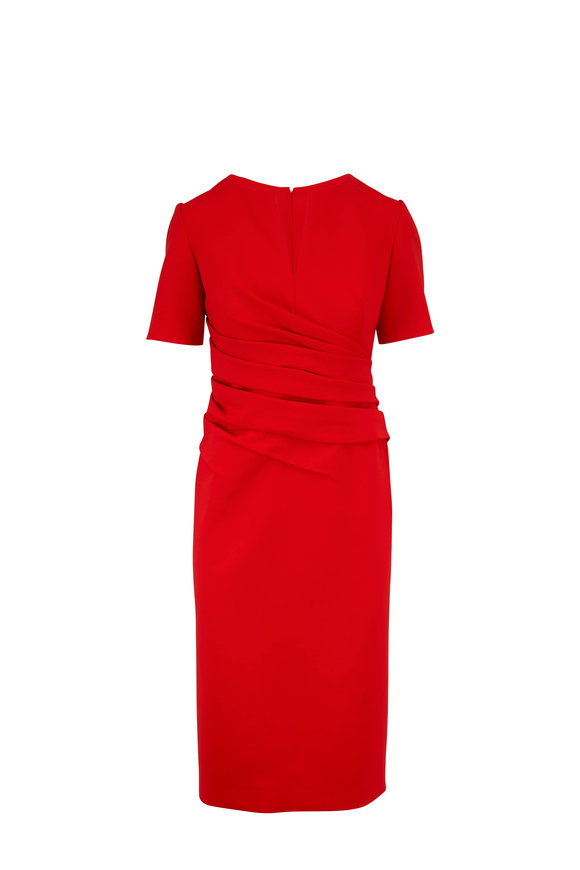 Oscar de la Renta Orange Red Stretch Wool Ruched Short Sleeve Dress