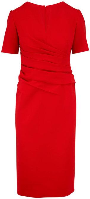 Oscar de la Renta Orange Red Stretch Wool Ruched Short Sleeve Dress