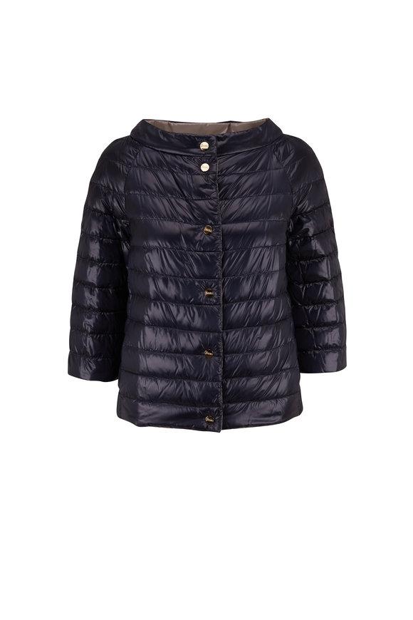 Herno Navy & Gray Reversible Puffer Jacket