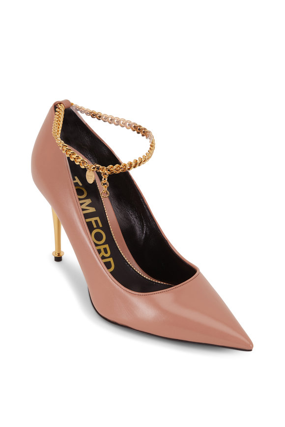 Tom Ford Flesh Leather Chain Detail Gold Heel Pump, 85mm
