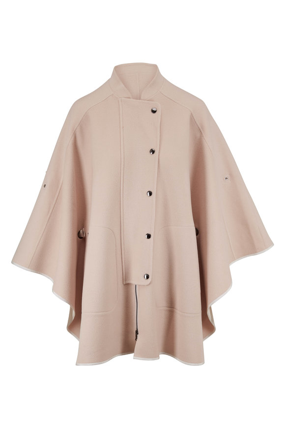 Bogner Salome Beige Double-Faced Wool Front Zip Poncho