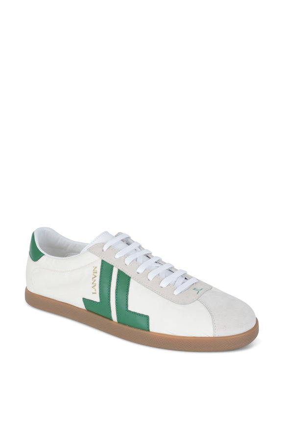 Lanvin JL Ecru & Green Nylon & Leather Low Top Sneaker