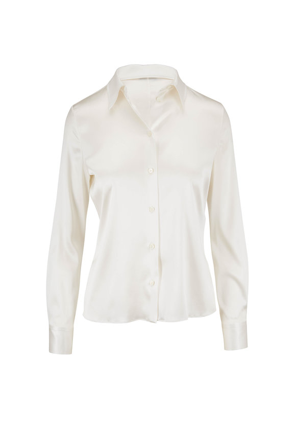 Tom Ford Chalk Stretch Silk Button Down Blouse