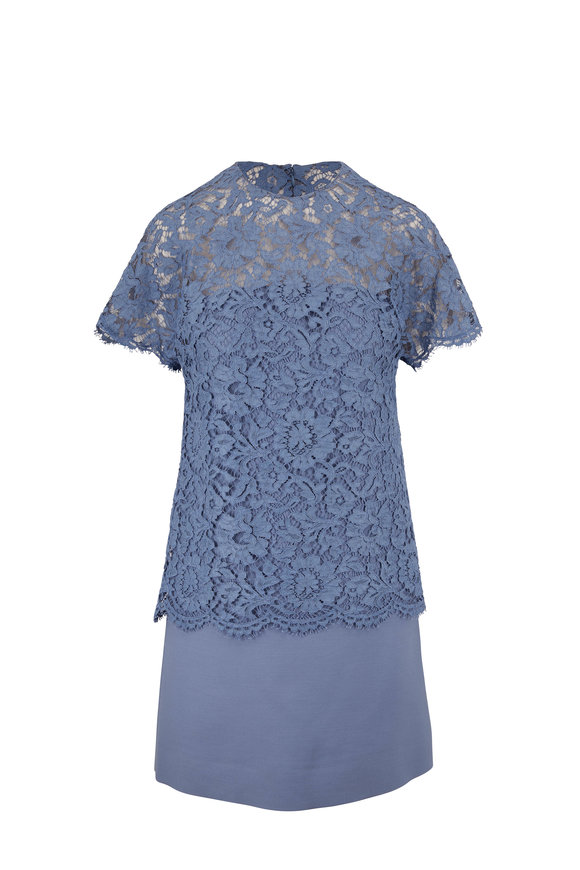 Valentino Cloud Crêpe Couture Lace Short Sleeve Dress