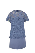 Valentino - Cloud Crêpe Couture Lace Short Sleeve Dress
