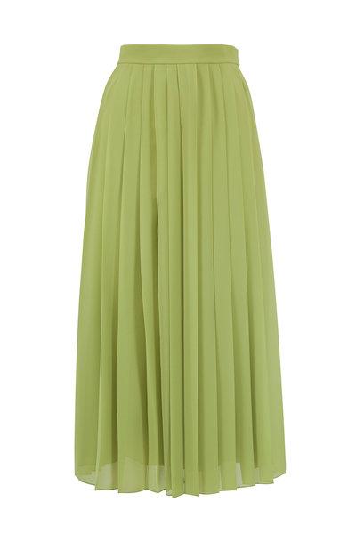 The Row - Magda Acid Green Pleated Midi Skirt