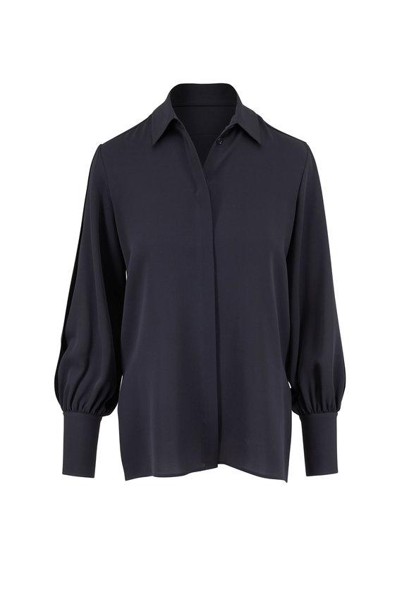 The Row Oni Slate Silk Button Down Blouse
