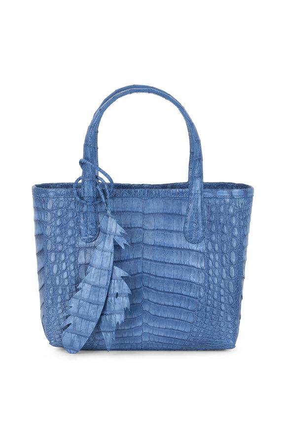 Nancy Gonzalez Erica Denim Blue Crocodile Mini Tote