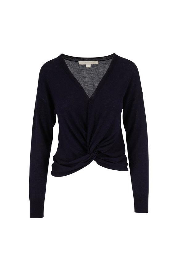 Jonathan Simkhai Midnight Cashmere Twist Front V-Neck Sweater