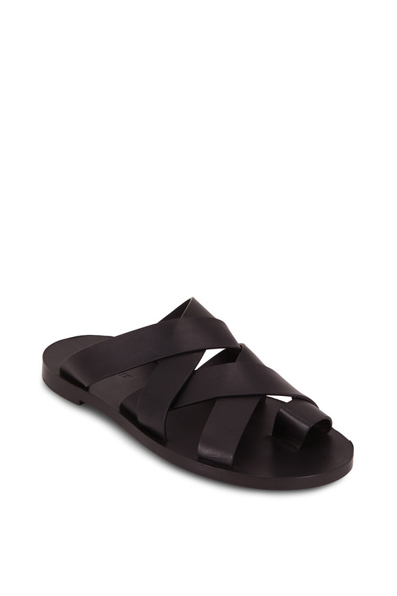 Jil Sander Black Leather Double Criss-Cross Toe Flat Sandal
