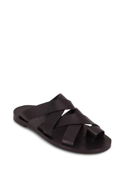Jil Sander - Black Leather Double Criss-Cross Toe Flat Sandal
