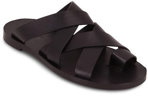 Jil Sander Black Leather Double Criss-Cross Toe Flat Sandal