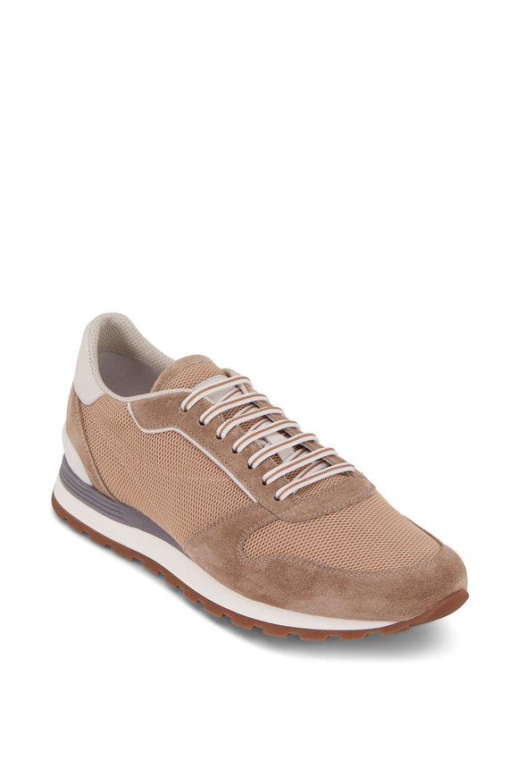 Brunello Cucinelli Beige Mesh & Suede Running Sneaker